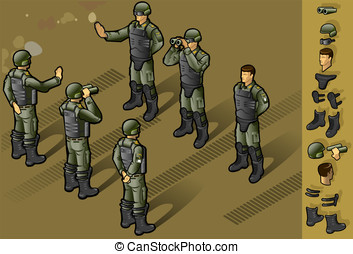 isometric set of military people standing - detailed...