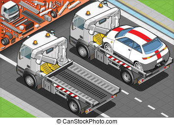 Isometric Tow Truck in Car Assistance in Rear View -...