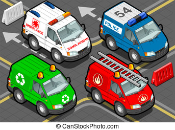 Isometric Trucks firefighters, police, ambulance, garbage...