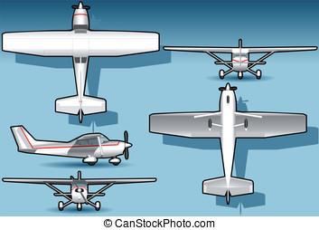 isometric white plane - Detailed illustration of a isometric...