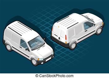 Isometric white van in two position - Detailed illustration...