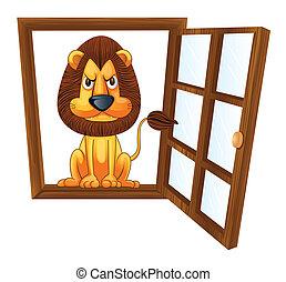 a lion in a window
