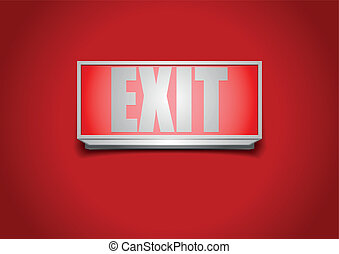 exit sign - detailed illustration of a red exit sign