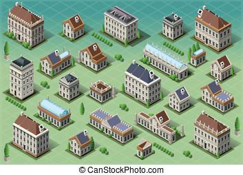 Set of Isometric European Buildings - Detailed illustration...