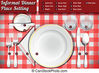 Set of Place Setting Informal Dinner - Detailed Illustration...