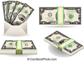 set of two dollars banknotes - Detailed illustration of a...