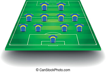 soccer field with team formation - detailed illustration of...