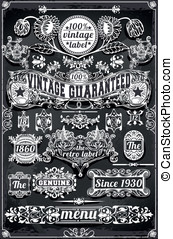 Vintage Hand Drawn Graphic Banners and Labels on Blackboard...