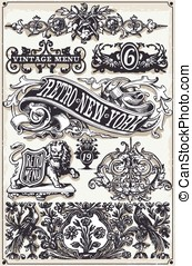 Vintage Page Hand Drawn Banners and Labels - Detailed...