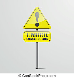 under construction roadsign - detailed illustration of an ...
