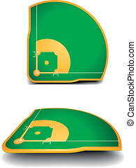detailed illustration of baseball fields with perspective, eps10 vector