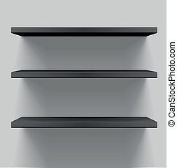 detailed illustration of black shelves with light from the top