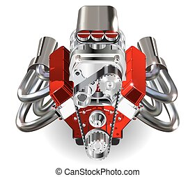 Hot Rod Engine - Detailed illustration of Hot Rod Engine....