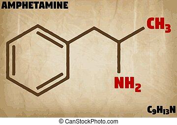 Detailed illustration of the molecule of Amphetamine -...
