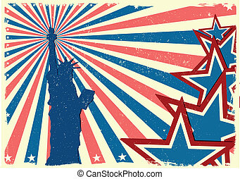 detailed illustration of the Statue of Liberty in front of a grungy stars and stripes backbround, eps 10 vector