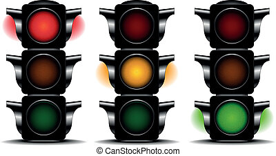 detailed illustration of traffic lights with different activated lights