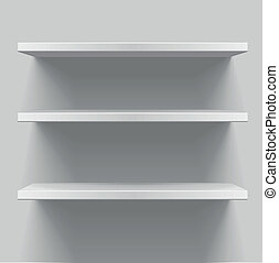 detailed illustration of white shelves with light from the top