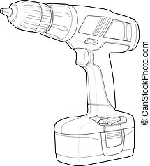 Detailed Illustrations of a Drill - Power tool drawing;...