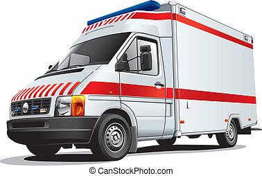 ambulance car - Detailed image of ambulance car, isolated on...
