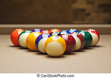 detailed image of pool balls arranged on table