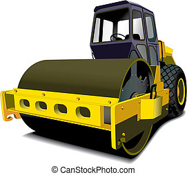 detailed image of road roller isolated on white background