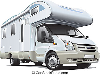 Detailed image of white camper, isolated on white background. File contains gradients. No blends and strokes.