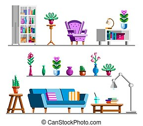 Detailed Interior set. Living room clipart bookshelves and bookcase, cozy armchair, flower stand, lamp, coffee table, sofa, cactus, flower vases. Flat vector illustration.