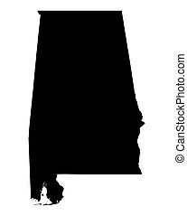 map of Alabama, USA - Detailed isolated b/w map of Alabama,...