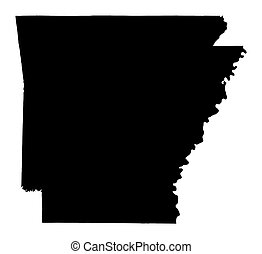 Detailed isolated b/w map of Arkansas, USA. Mercator projection.