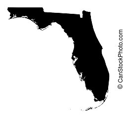 Detailed isolated b/w map of Florida, USA. Mercator projection.