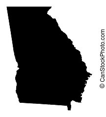 Detailed isolated b/w map of Georgia, USA. Mercator projection.