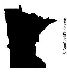 Detailed isolated b/w map of Minnesota, USA. Mercator projection.