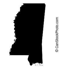 map of Mississippi, USA - Detailed isolated b/w map of ...