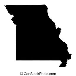 map of Missouri, USA - Detailed isolated b/w map of Missouri...