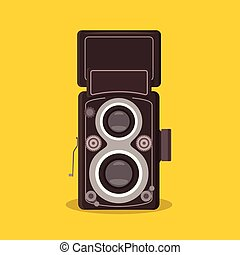 detailed isolated Twin-lens reflex camera vintage retro flat...