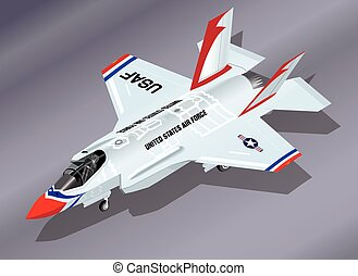 Detailed Isometric Vector Illustration of a parked F-35 Lightning II Fighter Jet in Thunderbirds Aerobatic Team Paint Scheme
