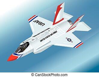 Detailed Isometric Vector Illustration of an airborne F-35 Lightning II Fighter Jet in Thunderbirds Aerobatic Team Paint Scheme