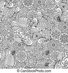 Detailed line ornamental background with flowers