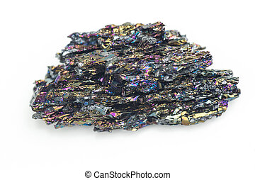 detailed macro photo of Silicon carbide mineral isolated over white