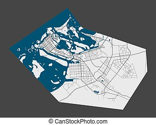 Abu Dhabi map. Detailed map of Abu Dhabi city administrative area. Cityscape panorama. Royalty free vector illustration. Linear outline map with highways, streets, rivers.