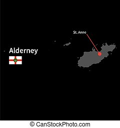 Detailed map of Alderney and capital city St. Anne with flag...