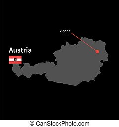 Detailed map of Austria and capital city Vienna with flag on black background