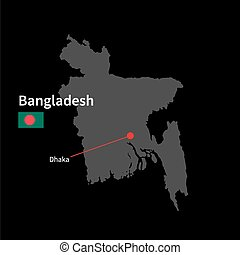 Detailed map of Bangladesh and capital city Dhaka with flag on black background