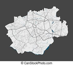 Bochum map. Detailed map of Bochum city administrative area. Cityscape panorama. Royalty free vector illustration. Linear outline map with highways, streets, rivers. Tourist decorative street map.