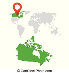 Detailed map of Canada and World map navigation set. Flat vector illustration.