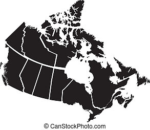 Detailed Map of Canadian Territories, each territory labeled...
