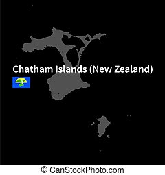 Detailed map of Chatham Islands with flag on black background