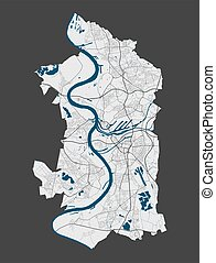 Duisburg map. Detailed map of Duisburg city administrative area. Cityscape panorama. Royalty free vector illustration. Linear outline map with highways, streets, rivers. Tourist decorative street map.