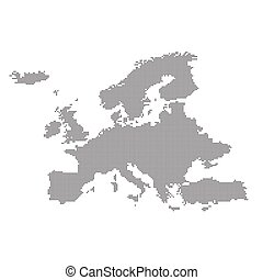 Detailed map of Europe in the dot. Vector illustration