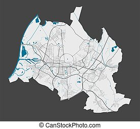 Karlsruhe map. Detailed map of Karlsruhe city administrative area. Cityscape panorama. Royalty free vector illustration. Outline map with highways, streets, rivers. Tourist decorative street map.